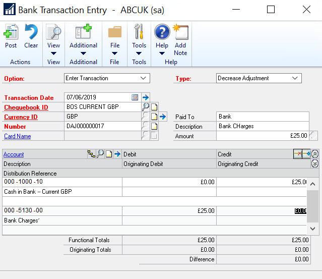 Bank Transaction Entry in Dynamics GP