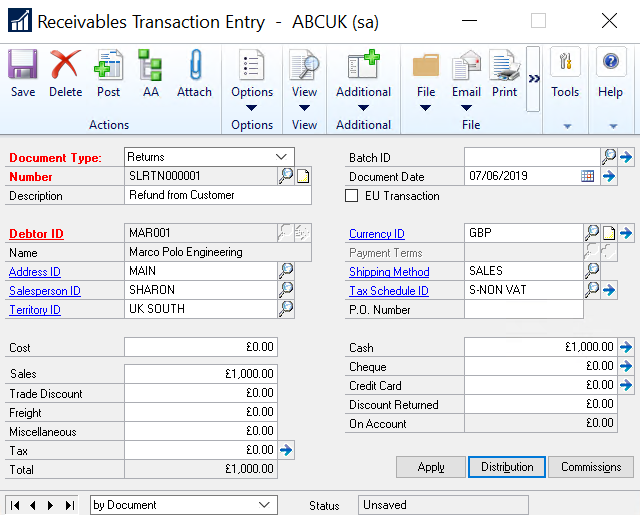 Receivables Transaction Entry in Dynamics GP