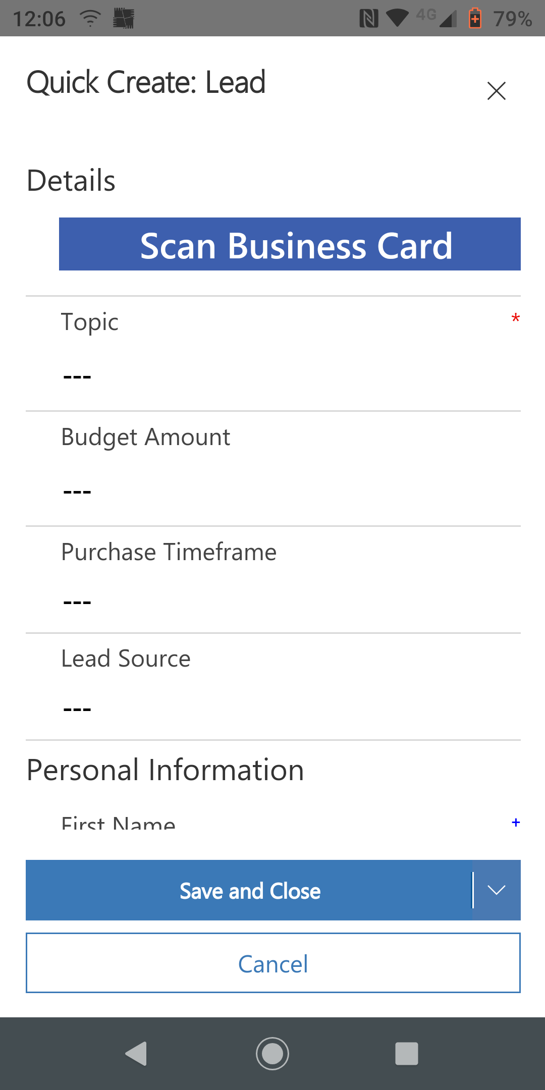 Lead Option on the Dynamics Mobile App