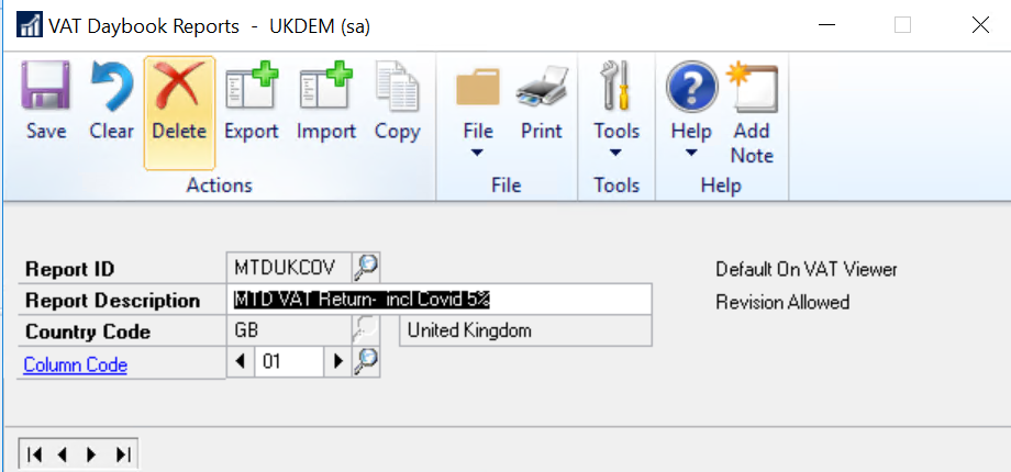 VAT Daybook Reports in Dynamics GP